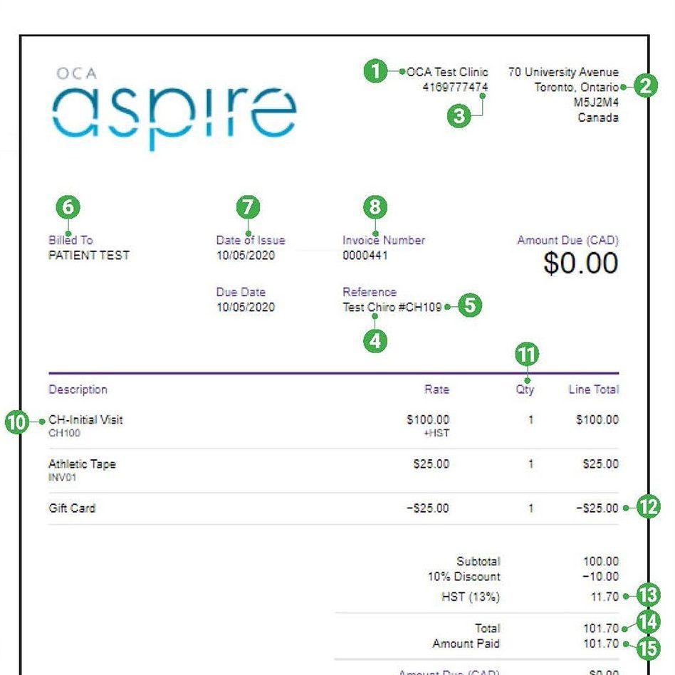 OCA Aspire Invoice thumbnail