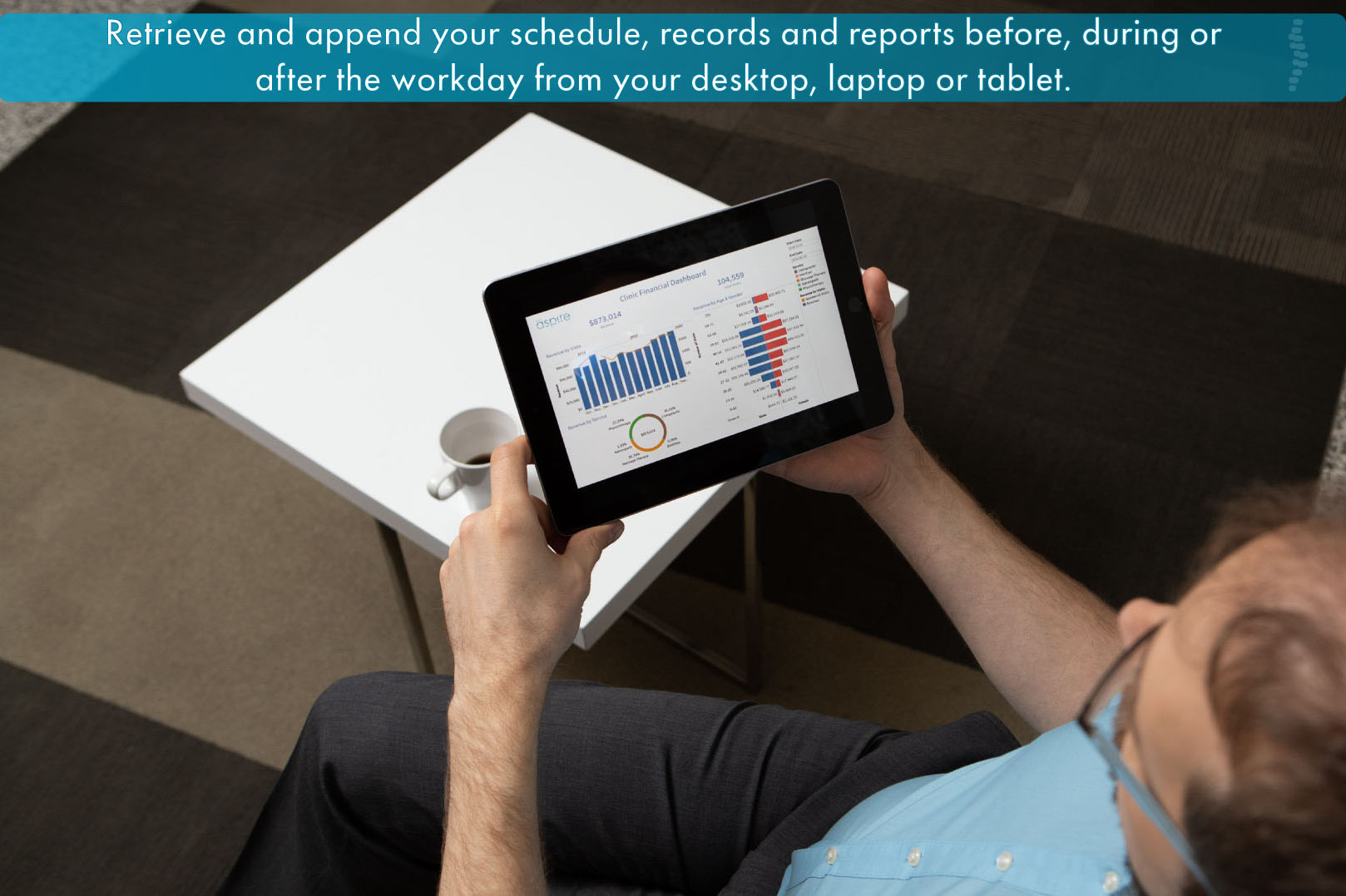 Chiropractor viewing OCA Aspire schedule on a tablet