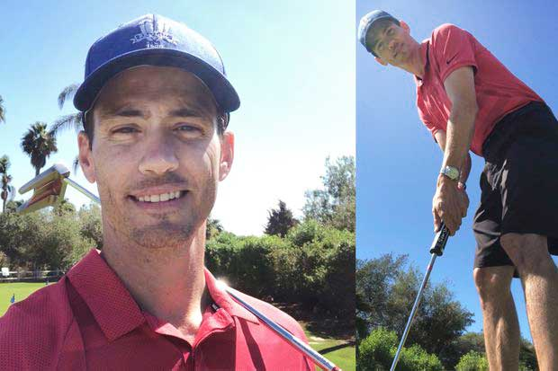 Chris Drake standing on the golf course and swinging a club after therapeutic exercise