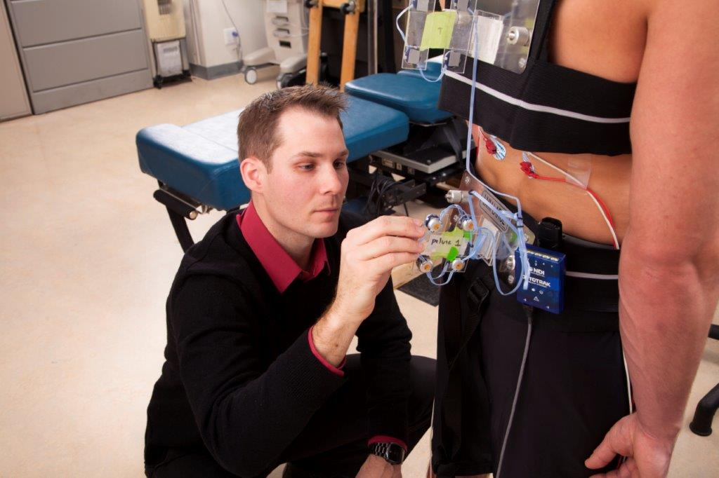 Dr. Sam Howarth working in Human Performance Lab at CMCC