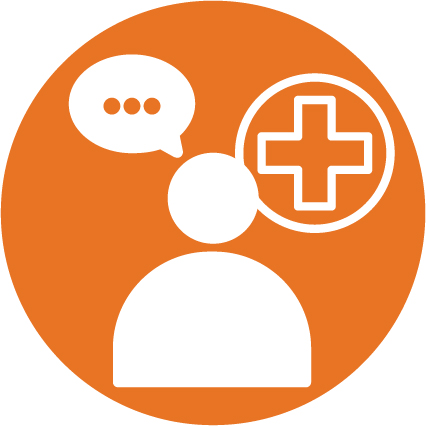 An image of a person with a comment bubble, and a health care cross