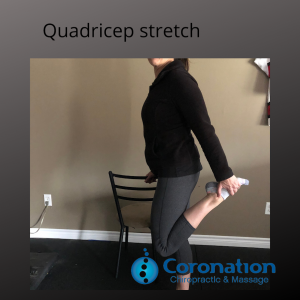 Image of a person demonstrating a quadricep stretch