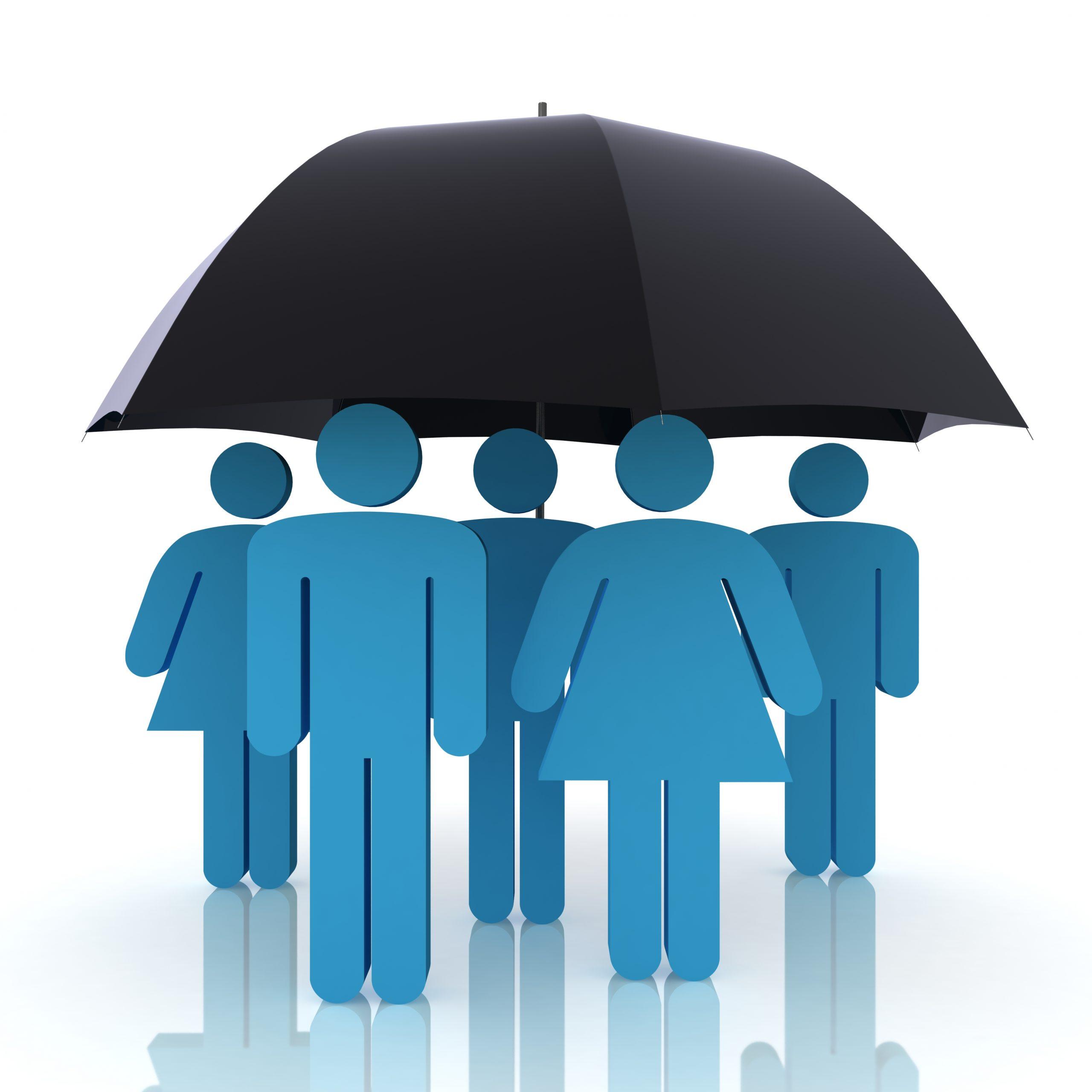 People under umbrella symbolizing EHC chiropractic coverage