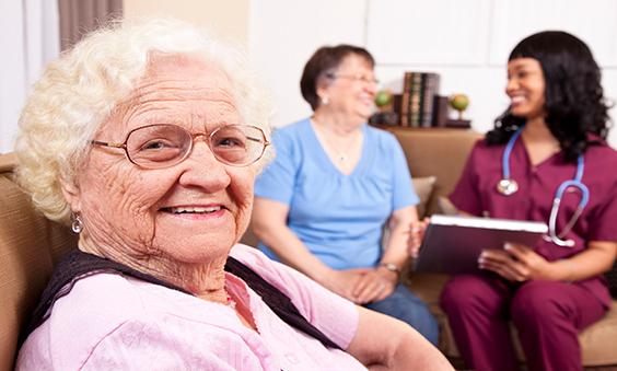 senior lady sitting down