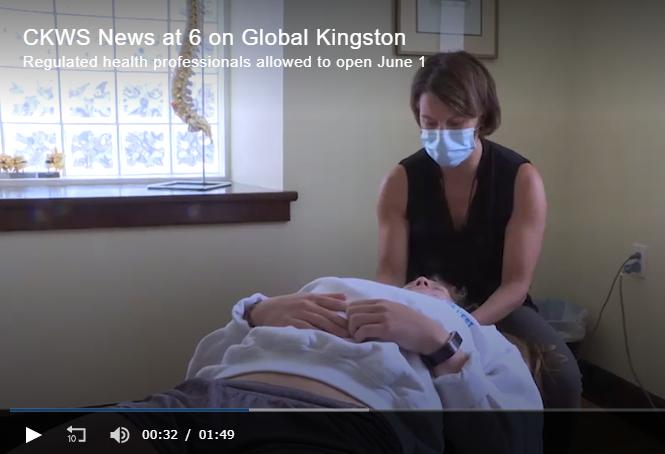Global News Kingston chiropractor in mask